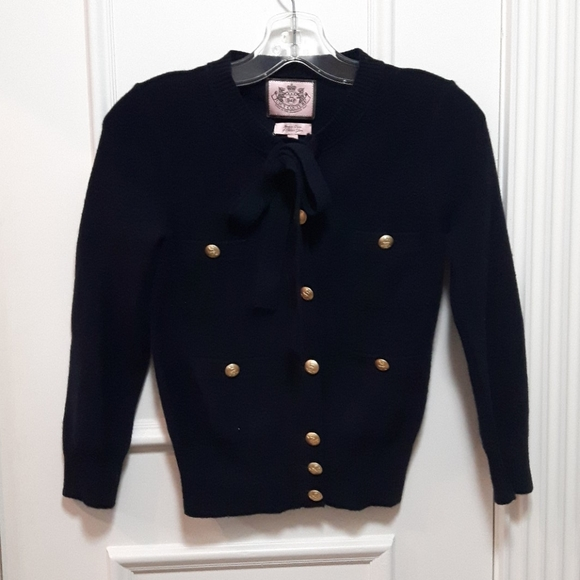Juicy navy cardigan with gold buttons and neck tie